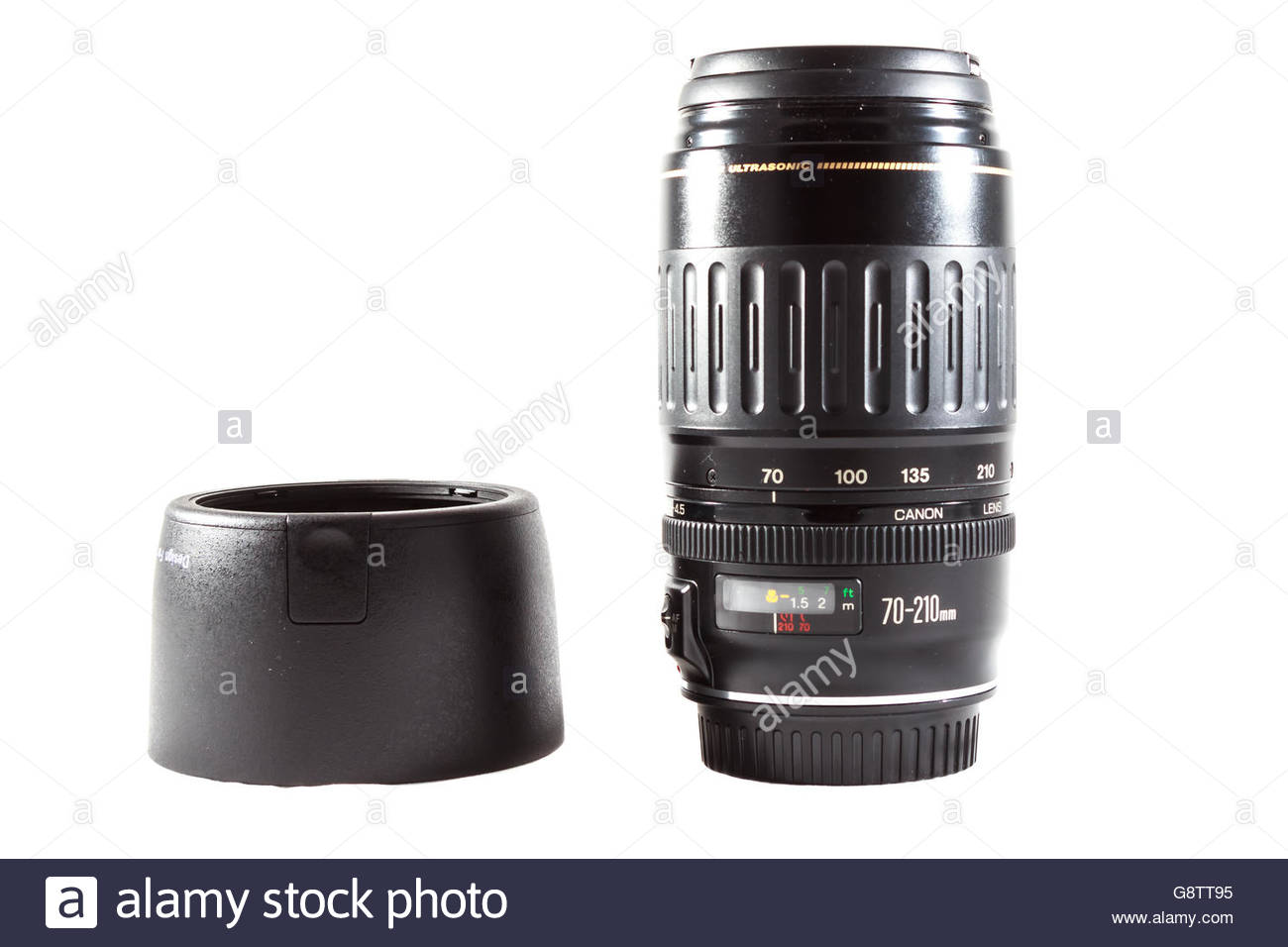 Canon EF 70-210mm f/3.5-4.5 USM lens made by Canon inc. with lens hood - Stock Image
