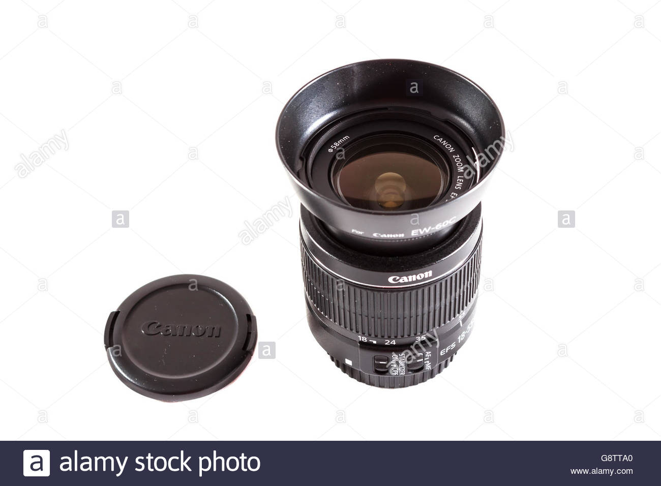 Canon EF-S 18-55mm f/3.5-5.6 IS II lens made by Canon inc. with lens hood Stock Photo