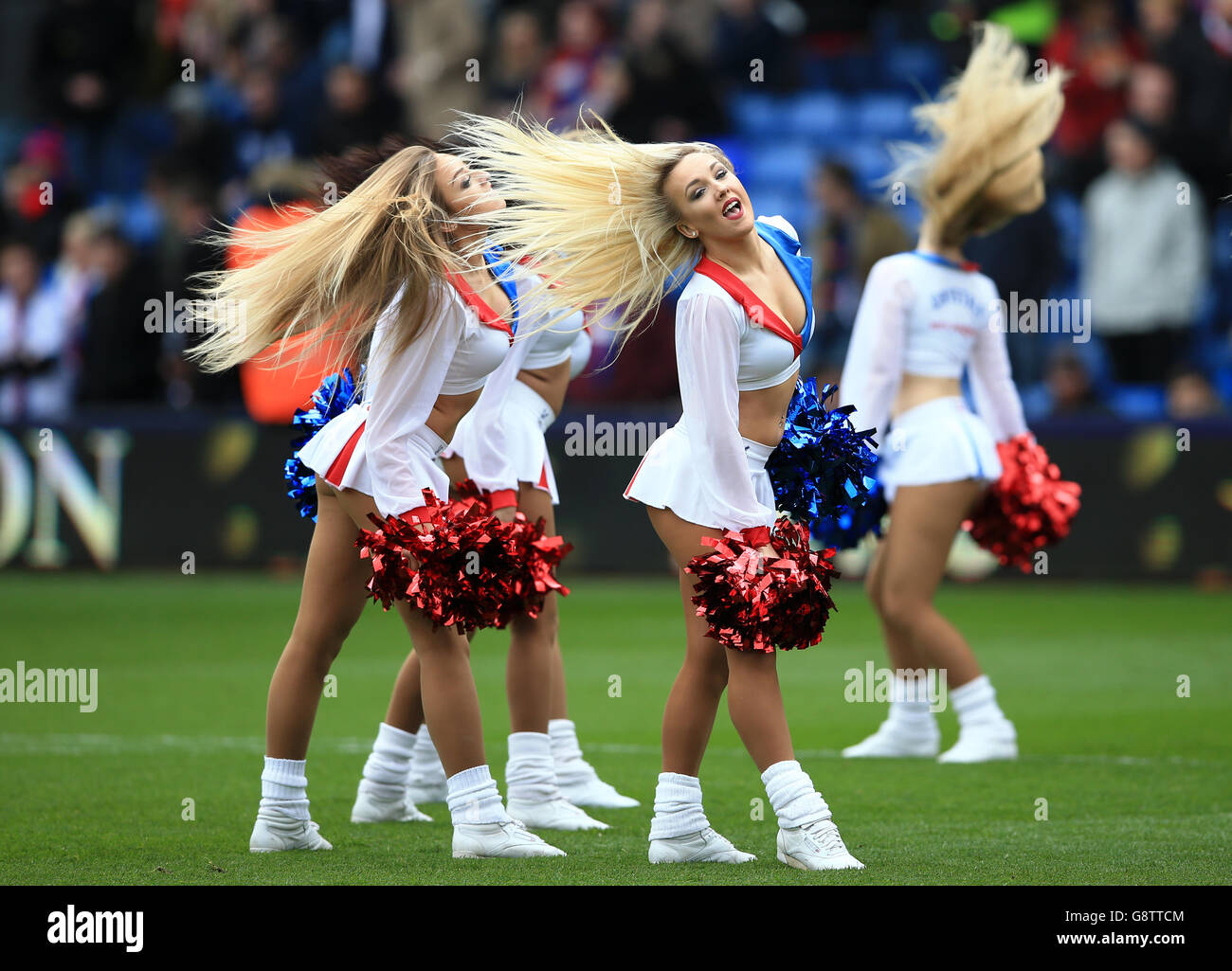 Crystal Palace Cheerleaders During Premier Stock Photos