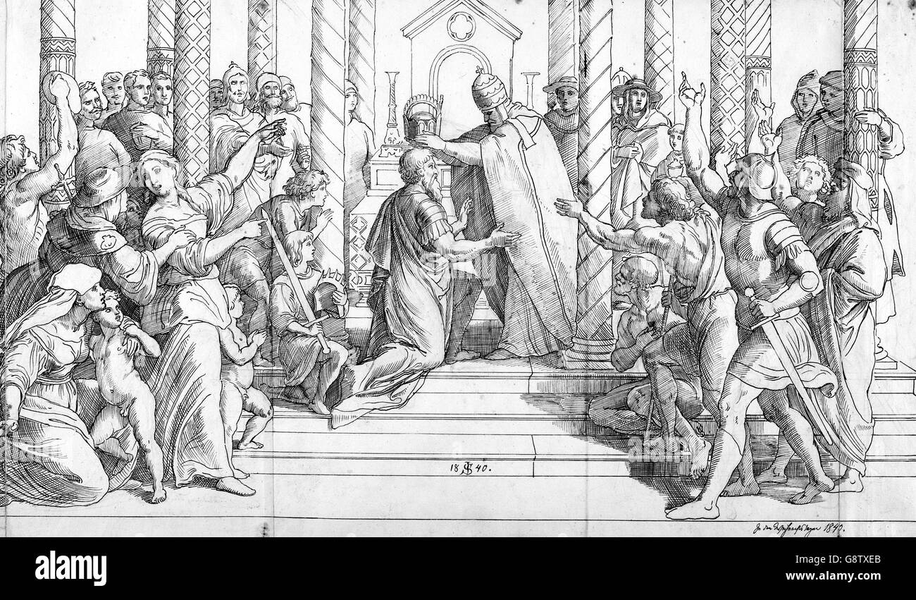 'The Coronation of Charlemagne' by Julius Schnorr von Carolsfeld, brown ink over graphite, 1840. The drawing - Stock Image