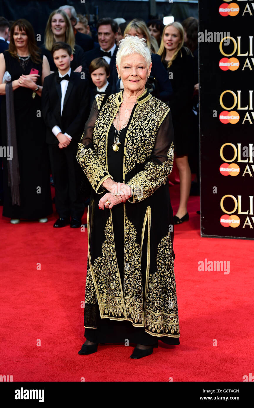 Dame Judi Dench attending the Olivier Awards 2016 held at The Royal Opera House in Covent Garden, London. PRESS Stock Photo
