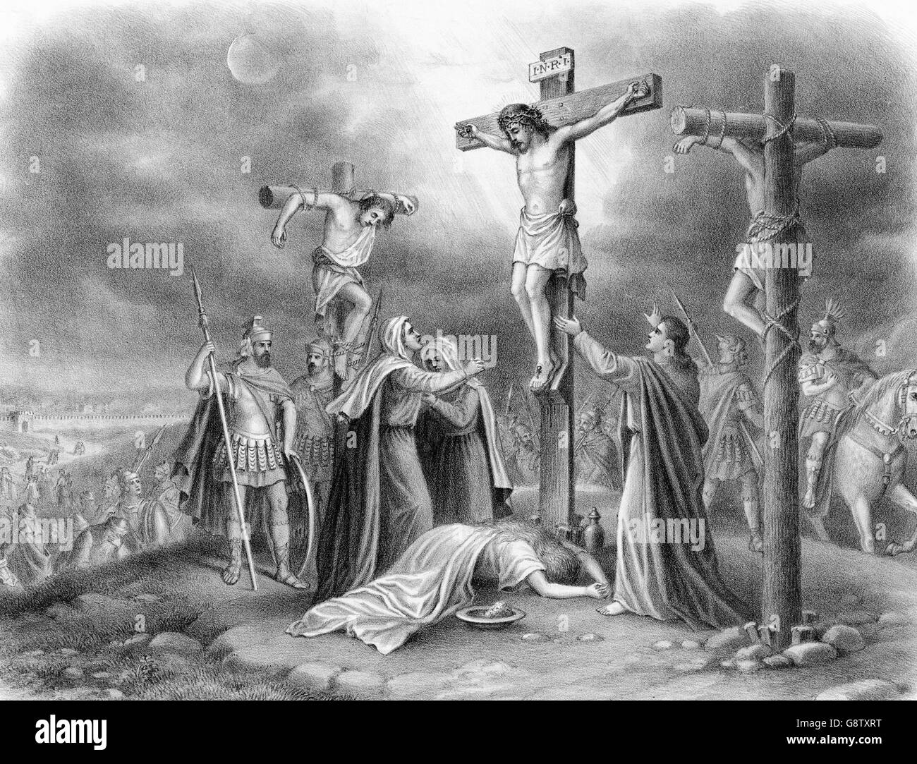 The Crucifixion of Christ. Engraving from a painting by Louis Kurz, c.1907. - Stock Image