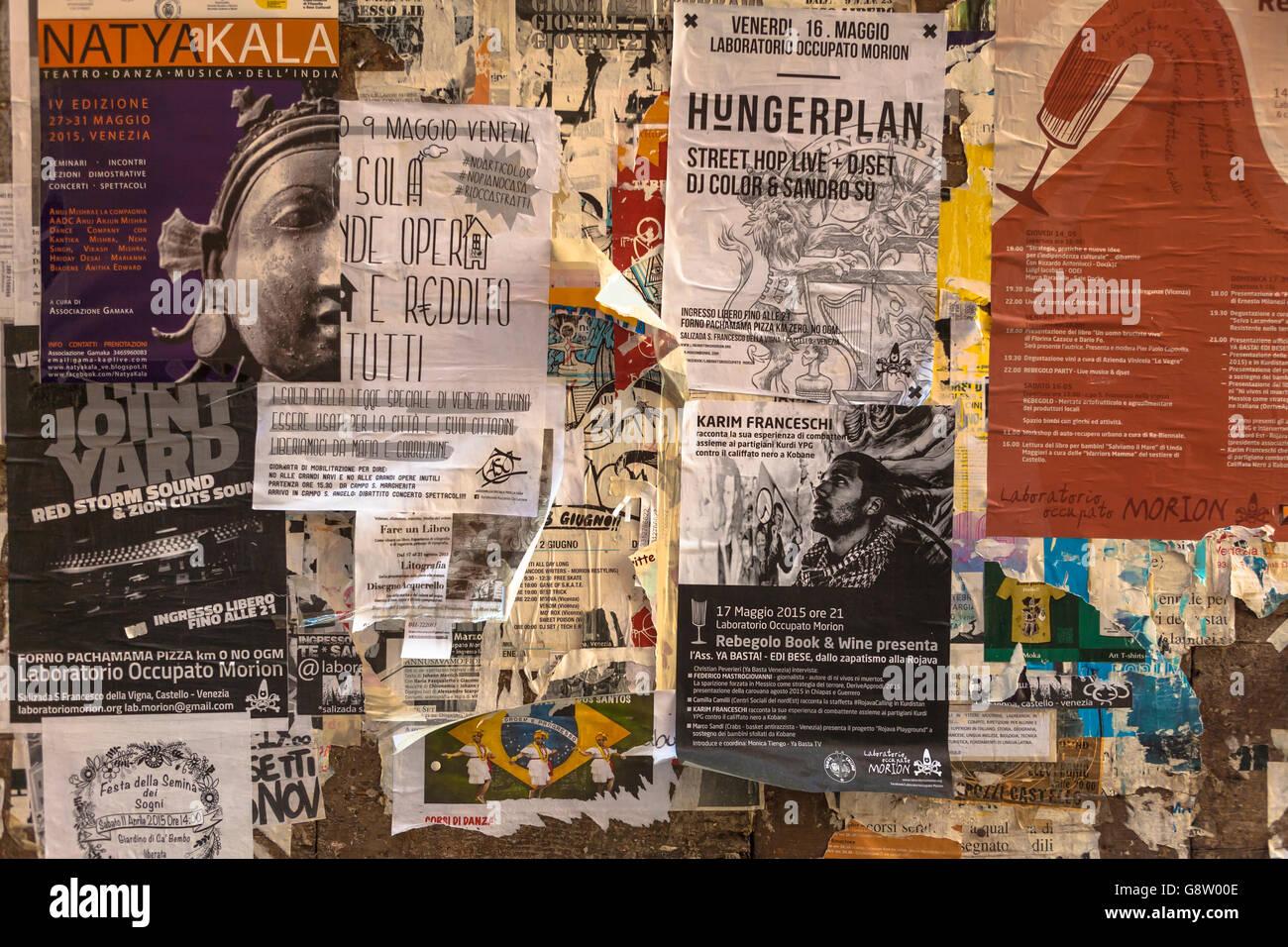 Torn posters, Barbaria delle Tole, Castello, Venice, Italy - Stock Image