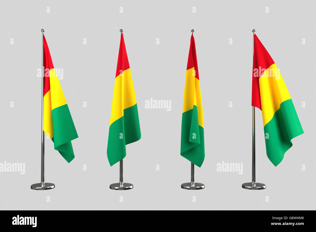 Guinea indoor flags isolate on white background - Stock Image