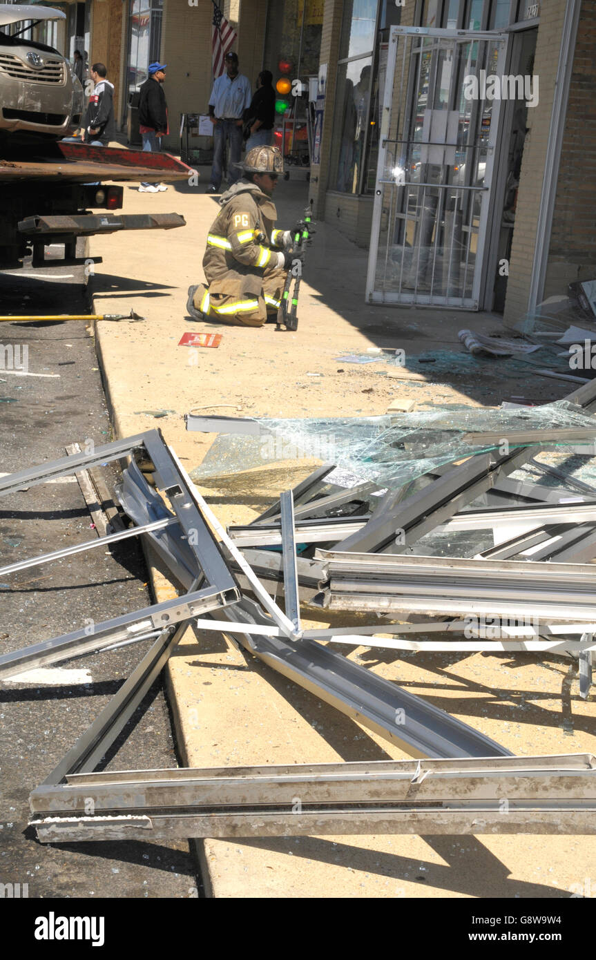 damage from a car driving into a medical supply store in