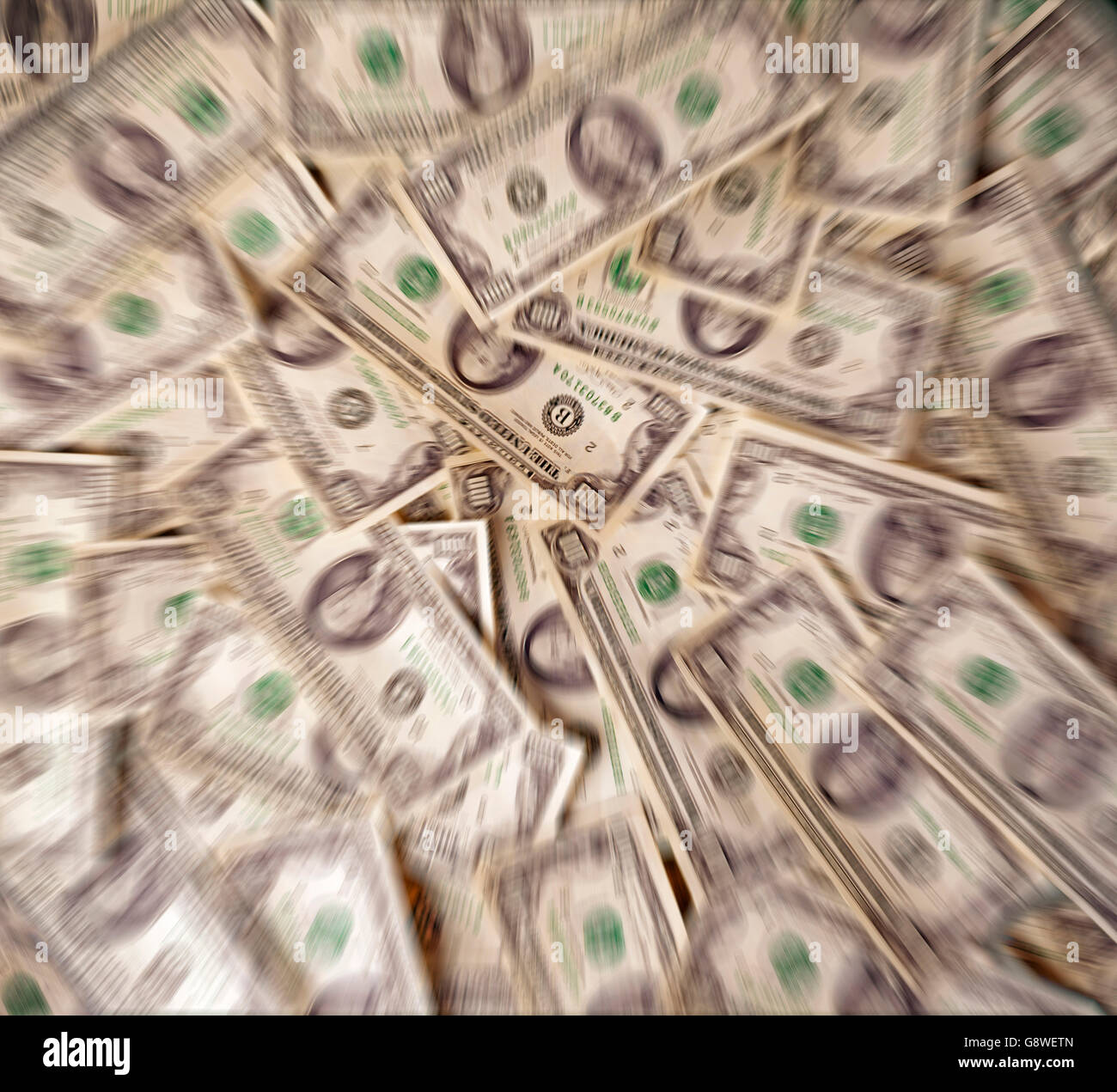 Money displayed on table as if looked through an addicts mind and hallucinating - Stock Image