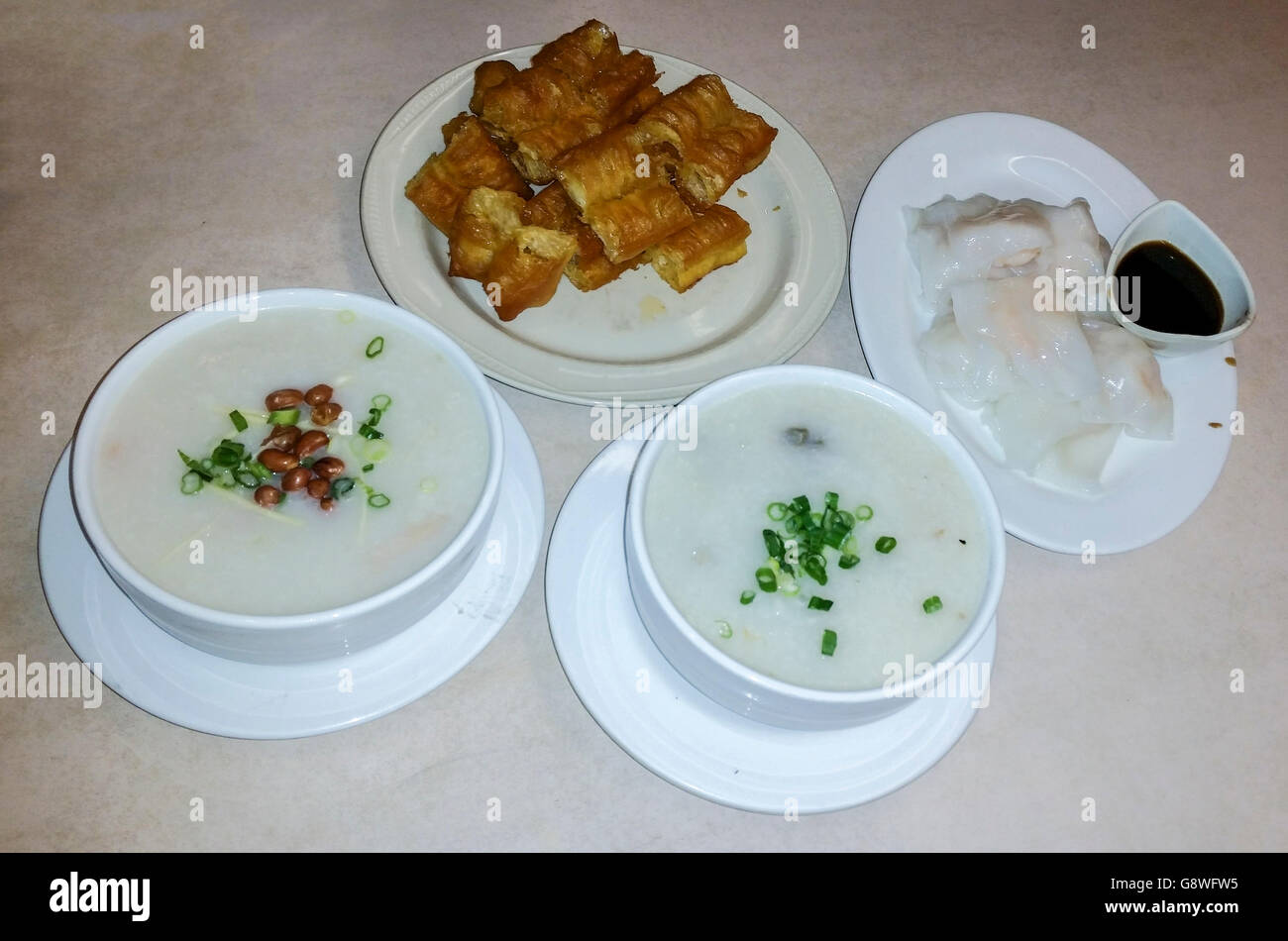 Congee,a favorite local Hong Kong style breakfast in ...