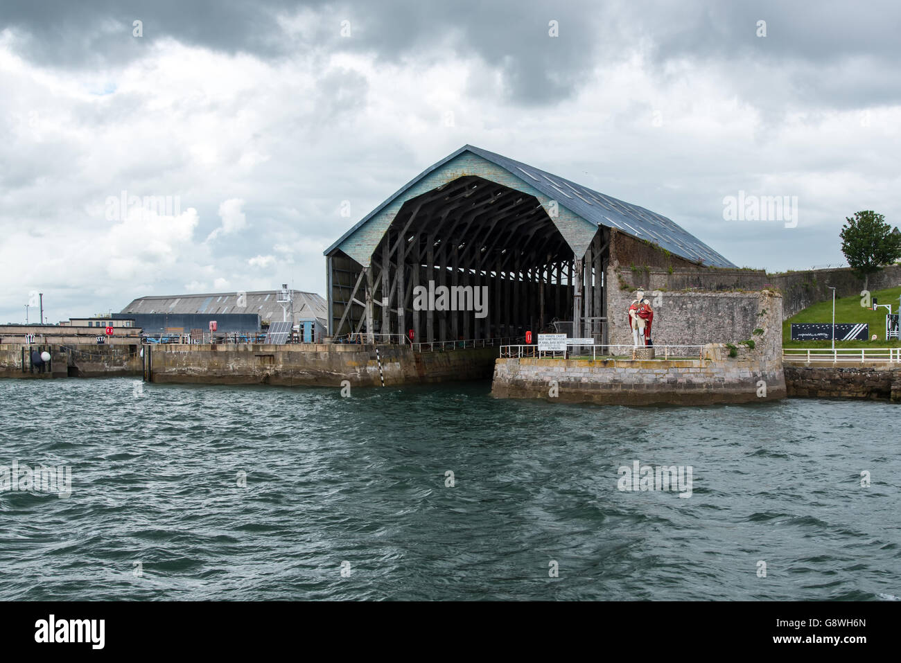 Covered Slip Number 1 at Devonport South Yard, Plymouth, is the oldest remaining covered slipway in any Royal Naval - Stock Image