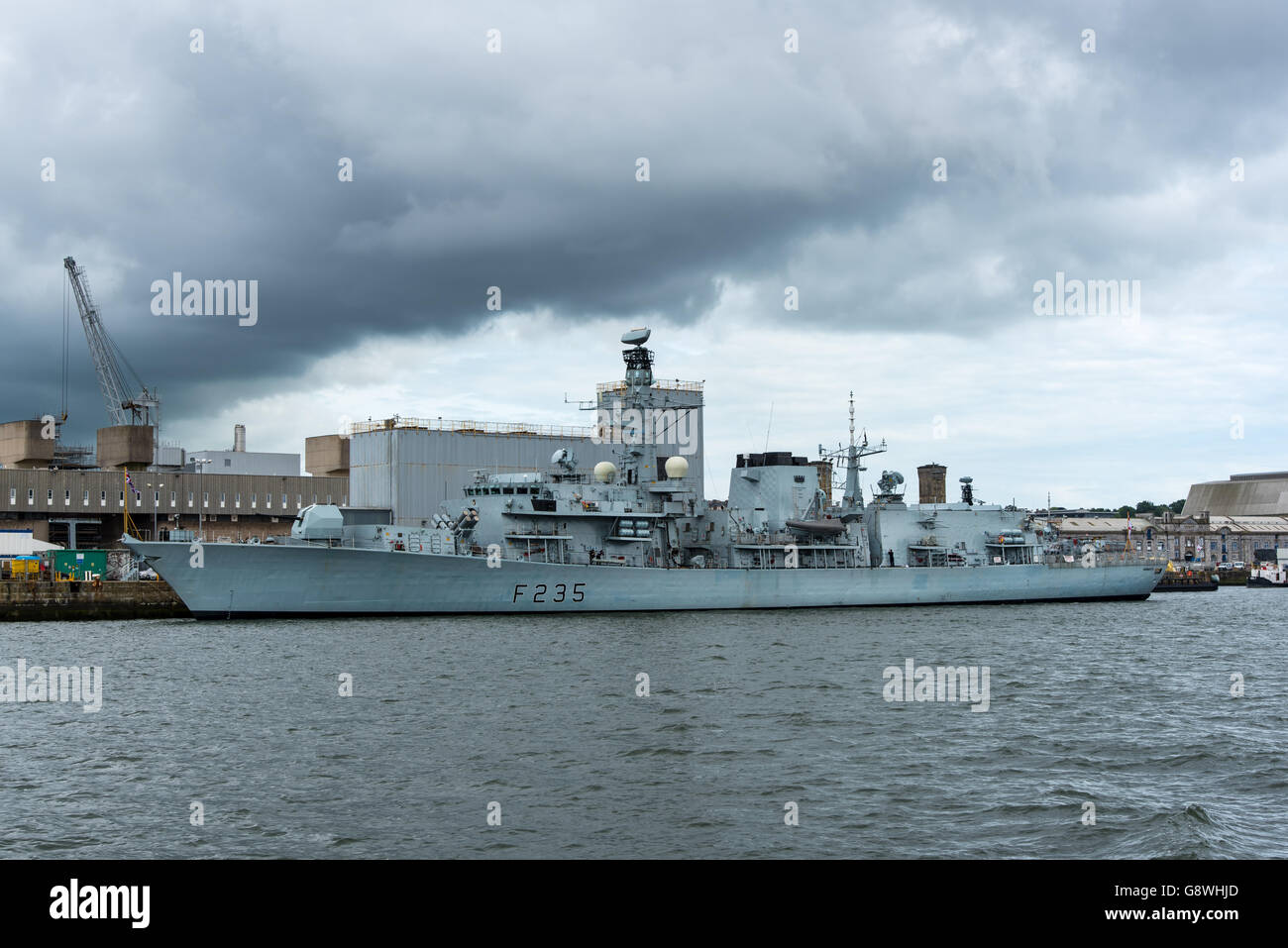 HMS Monmouth, a type 23 Frigate, at HMNB Devonport. - Stock Image