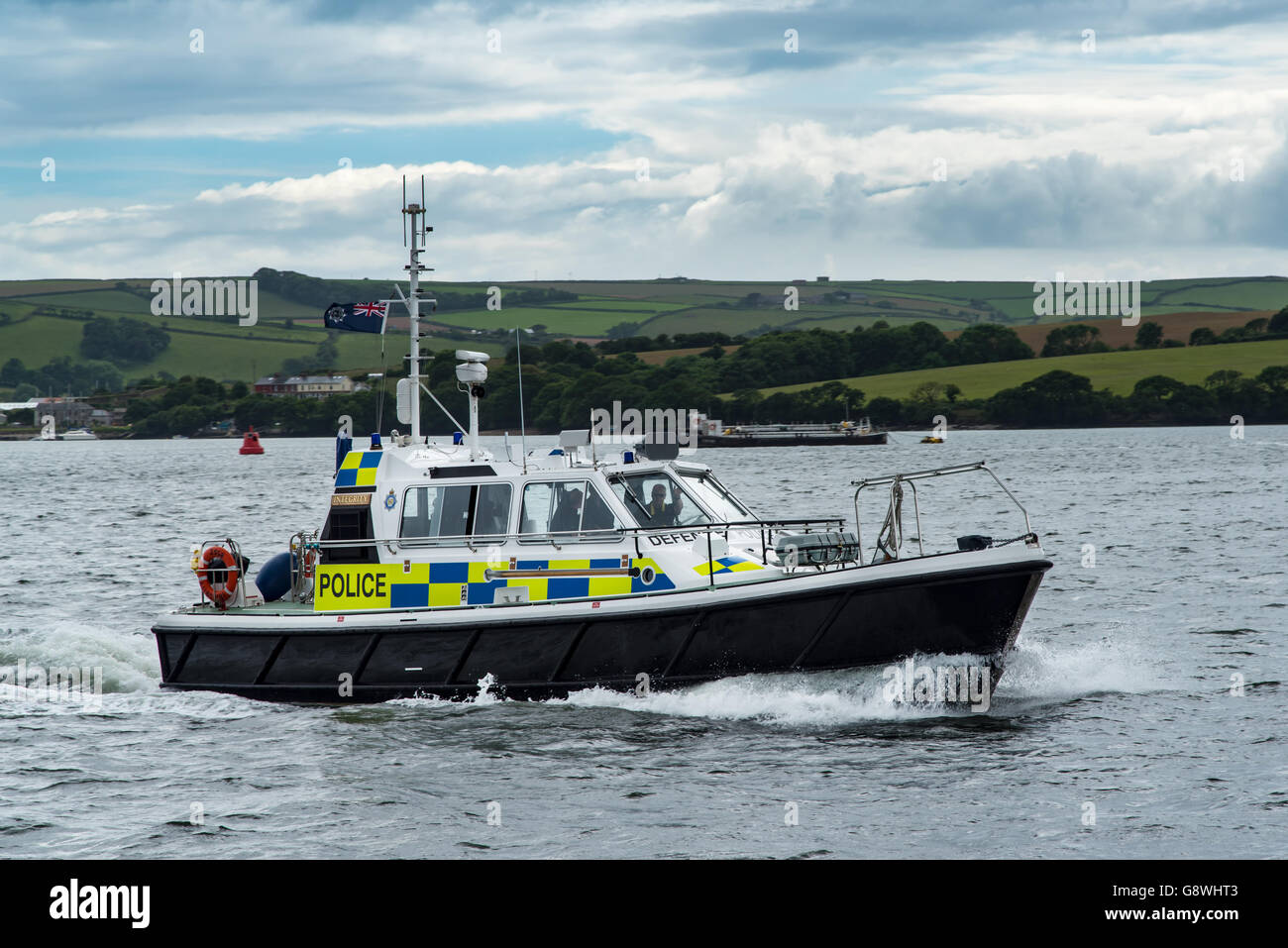 MOD Police launch Integrity  on the River Tamar off Devonport, Plymouth, Devon - Stock Image