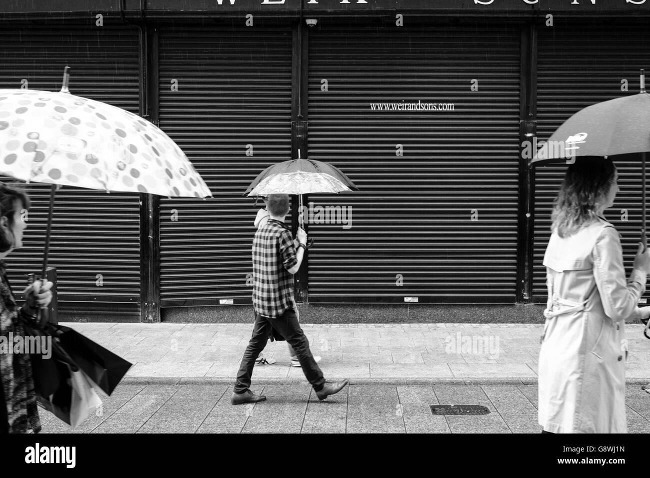 Rainy day in Dublin [monochrome] - Stock Image