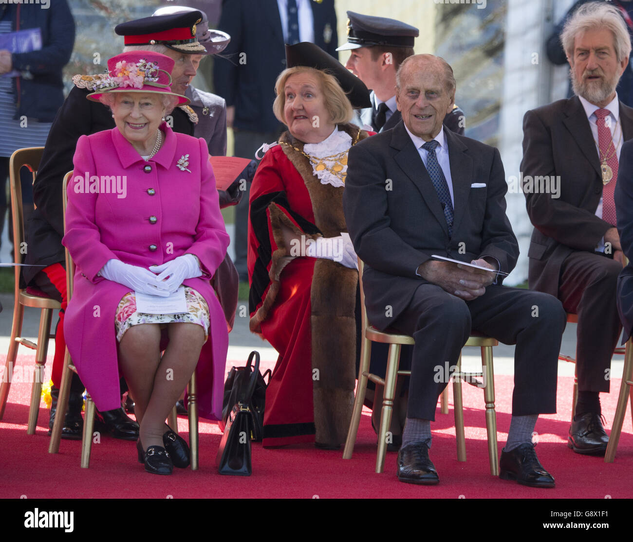 The Queen, accompanied by The Duke of Edinburgh, officially opend the new Bandstand at Alexandra Gardens. Her Majesty - Stock Image