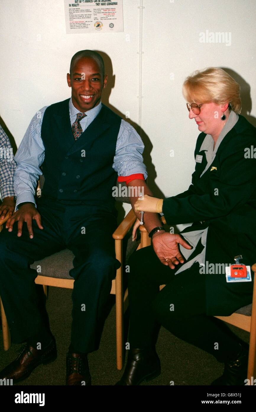 Soccer - Ian Wright Gives Blood - Stock Image