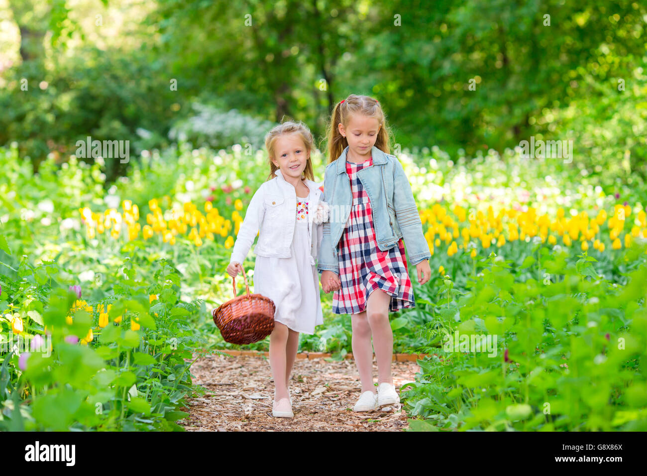 Spring Garden Spring Flowers Adorable Little Girls And Tulips