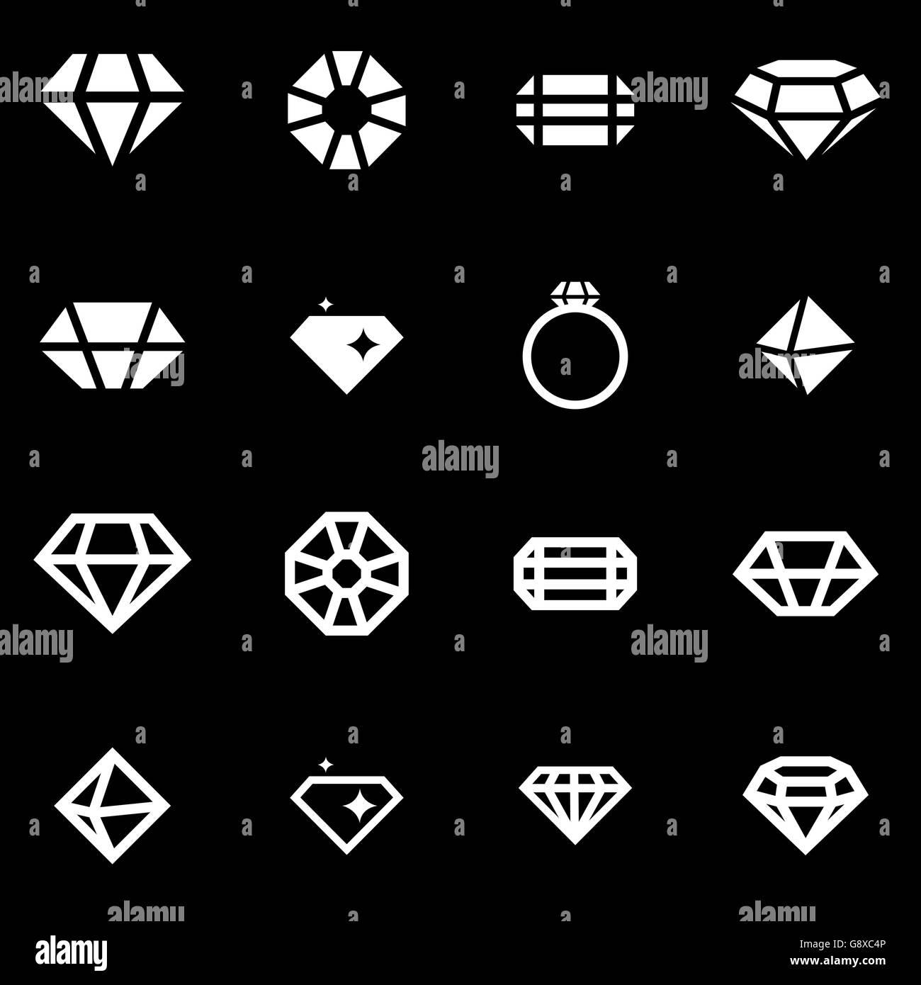Vector white diamond icon set - Stock Image