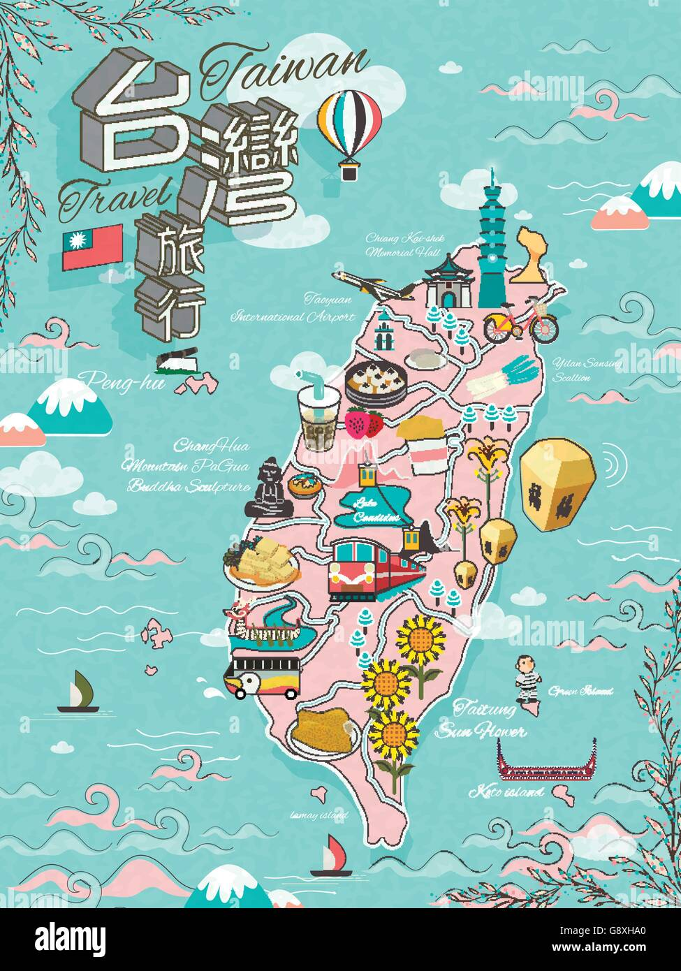 Taiwan travel map design with attractions and gourmets Taiwan