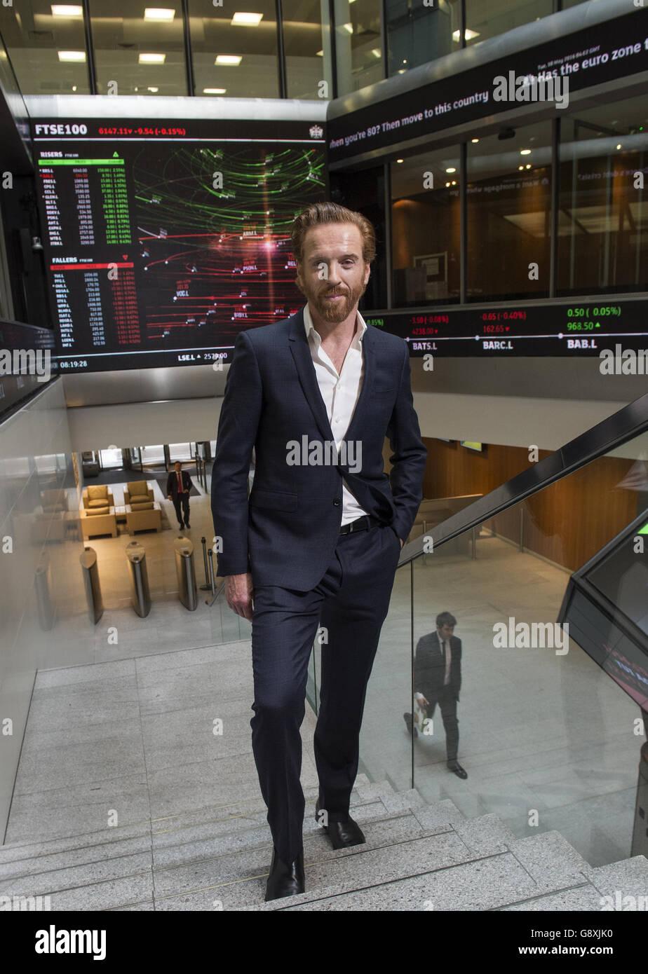 Damian Lewis opens the London Stock Exchange - Stock Image