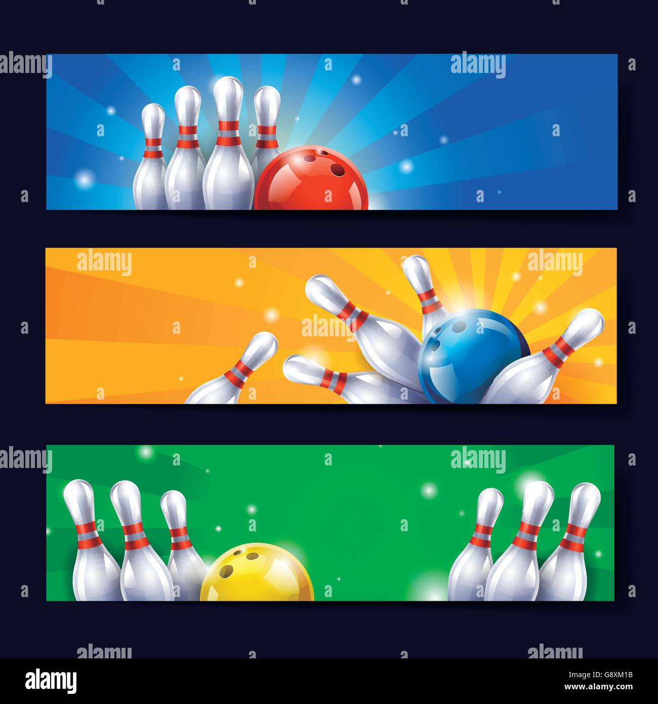 attractive bowling banner template design in bright colors stock