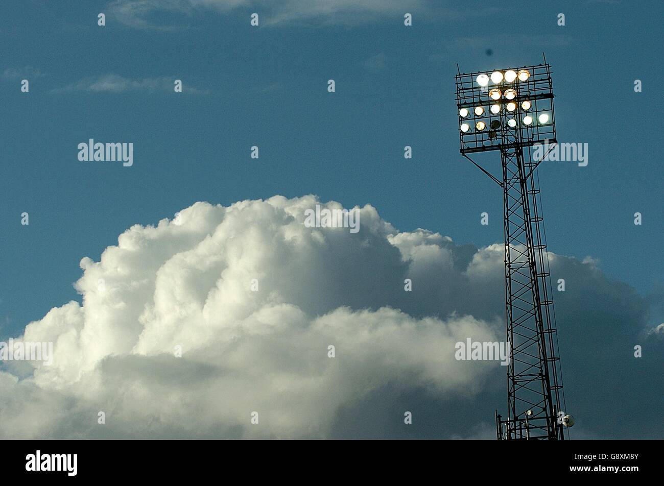 General View Of Floodlights At Fratton Park Stock Photos
