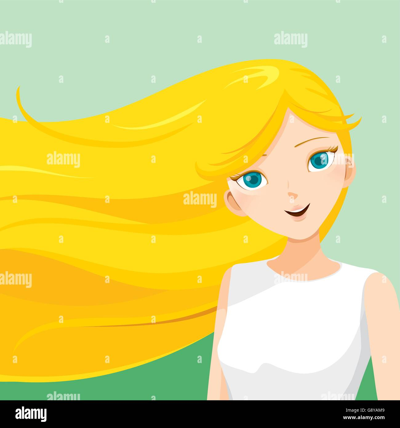 Young woman with long blond hair, blowing in the wind, hairstyles, beauty, on green background - Stock Vector