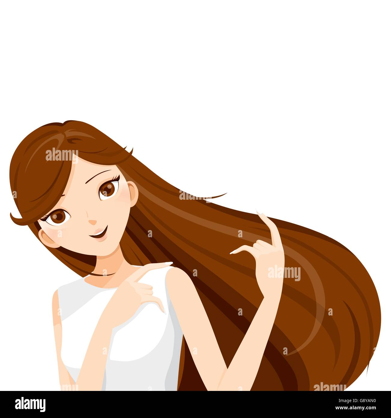 Young Woman With Long Brown Hair, blowing in the wind, hairstyles, beauty - Stock Vector