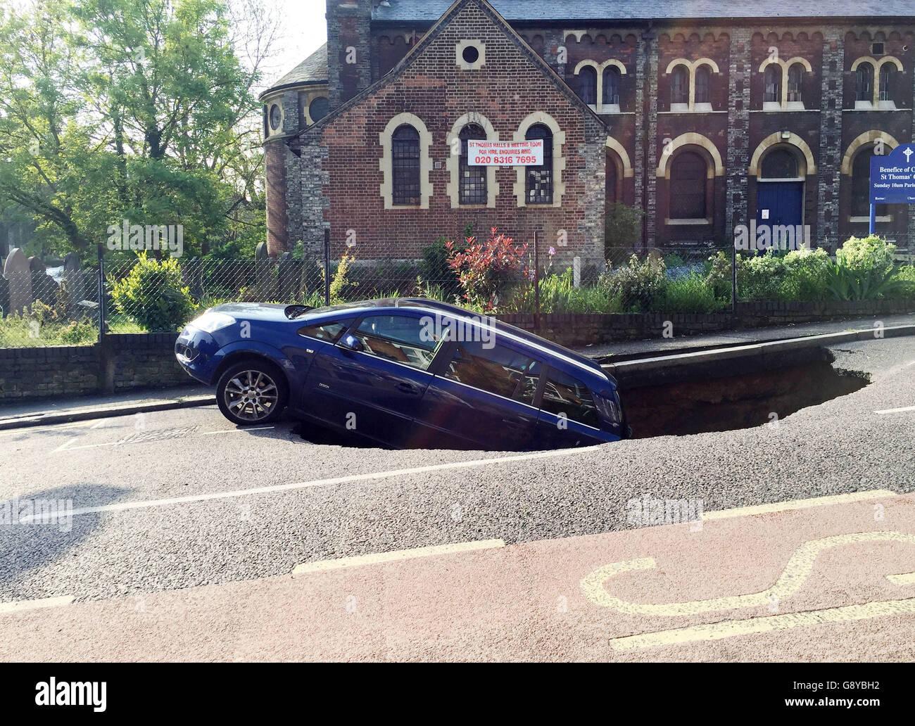 London sinkhole Stock Photo