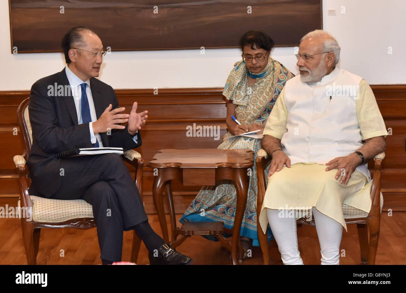 Indian Prime Minister Narendra Modi meets with World Bank President Jim Yong Kim June 30, 2016 in New Dehli, India. - Stock Image