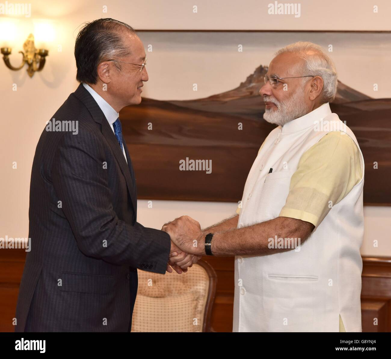 Indian Prime Minister Narendra Modi greets World Bank President Jim Yong Kim June 30, 2016 in New Dehli, India. - Stock Image