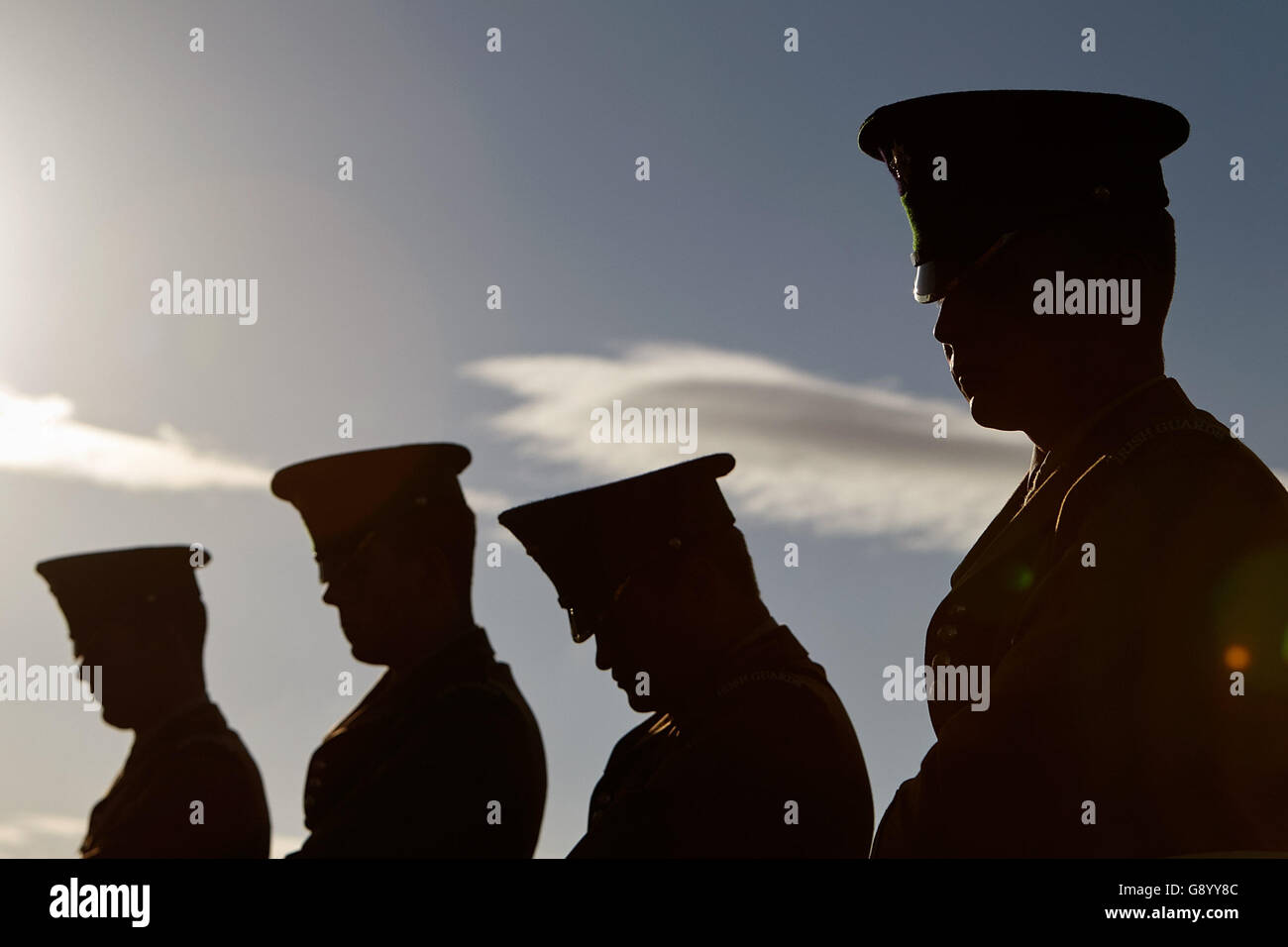 Newtownards, County Down, Northern Ireland. 1st July, 2016. members of the Irish Guards at the National Vigil Commemorating - Stock Image