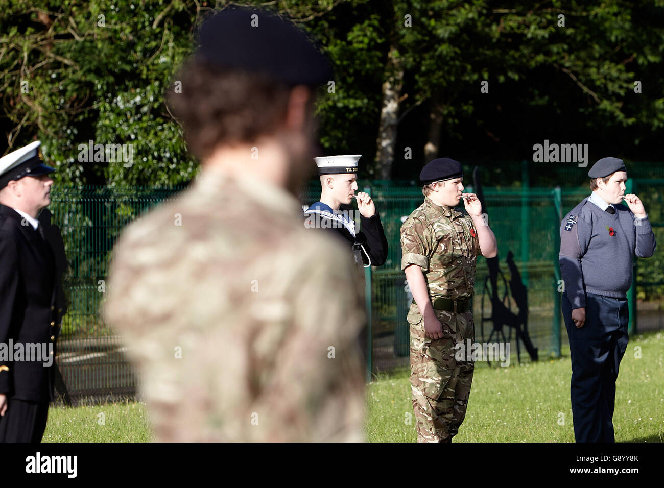 Newtownards, County Down, Northern Ireland. 1st July, 2016. Armed forces cadets blow whistles to signify the start Stock Photo