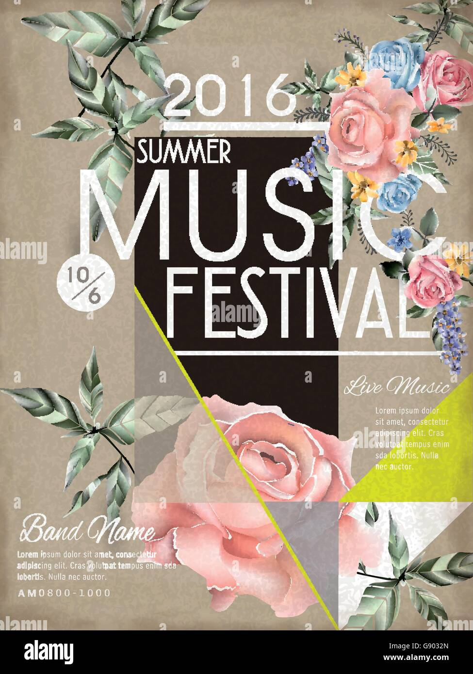 music festival poster template design with floral element stock