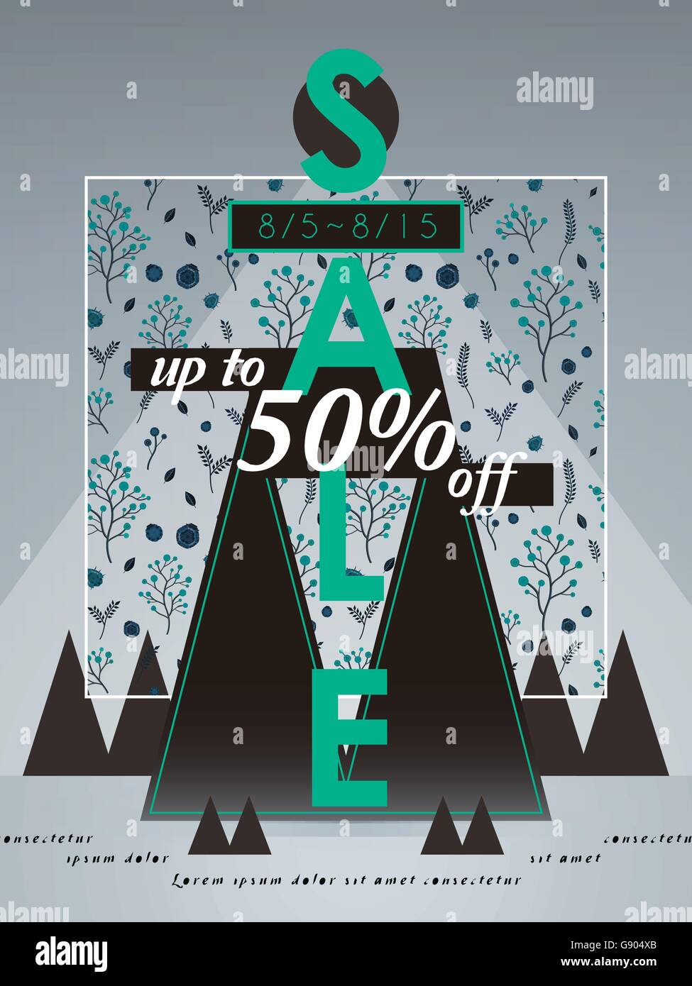 sale poster template design with triangle and floral background - Stock Vector