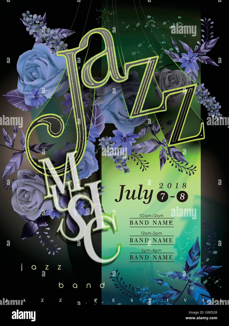 jazz festival poster template design with floral elements - Stock Vector