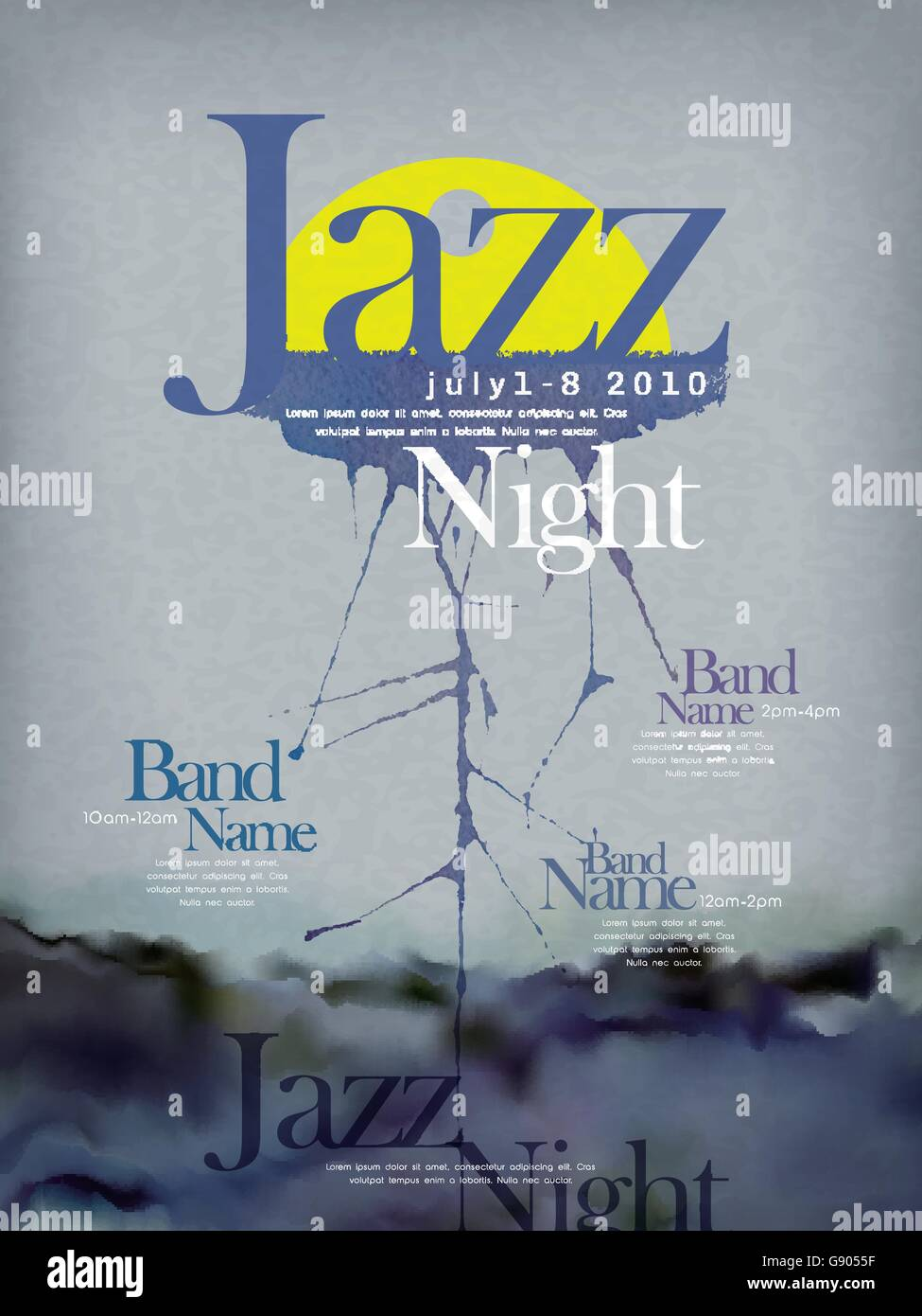 jazz festival poster template design with ink stroke - Stock Vector