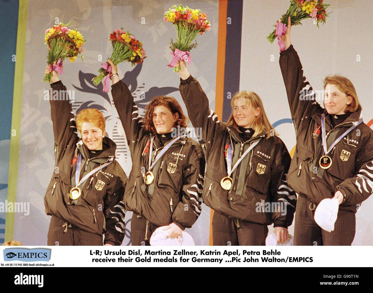 Martina Zellner medal ceremony winter olympics nagano 1998 biathlon stock