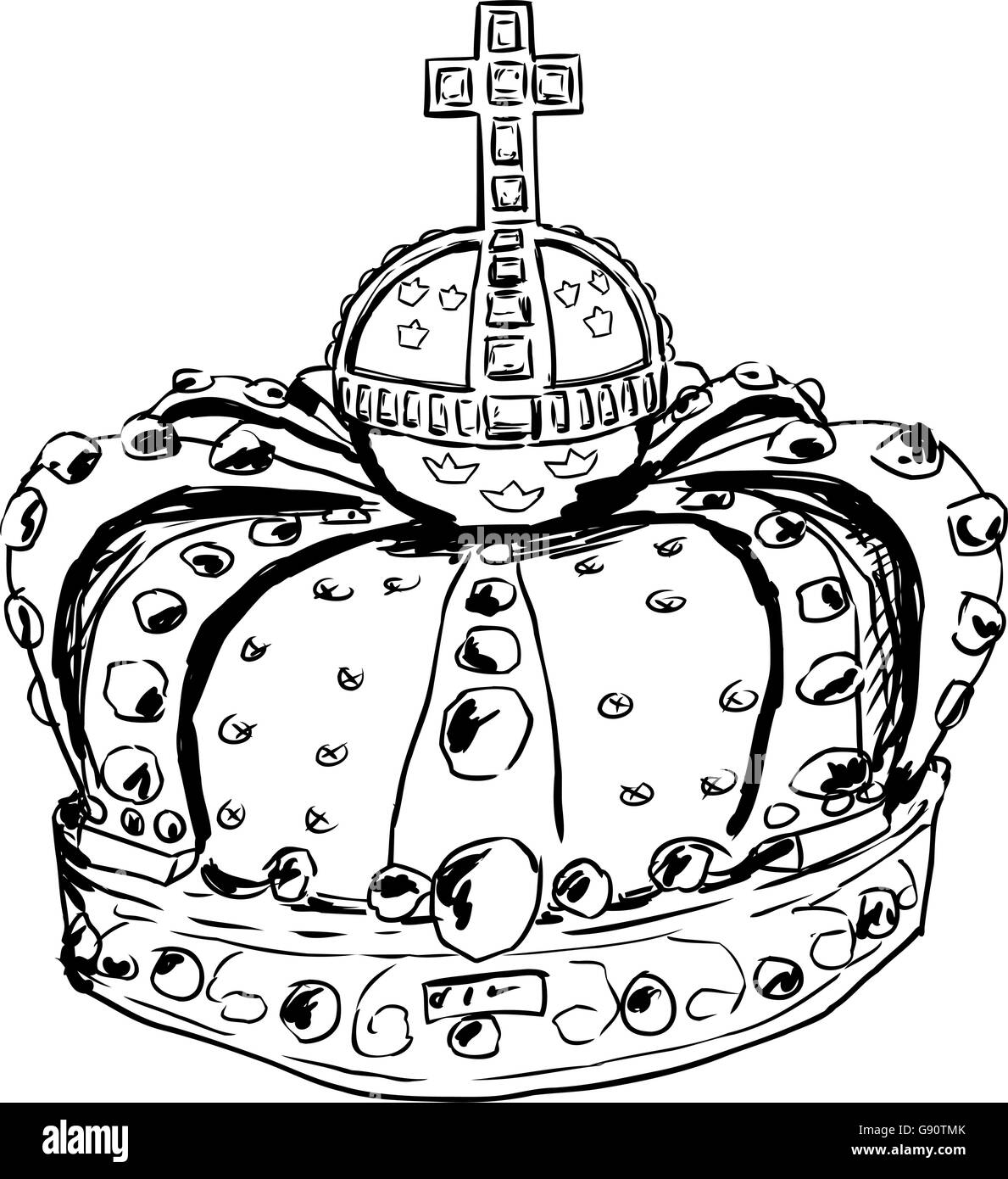 Sketch of royal crown worn by Swedish Queen Lovisa Ulrika in the 18th century - Stock Vector