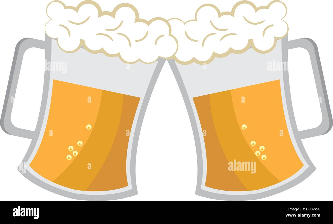 cheers beer cups, vector graphic Stock Vector Art ...