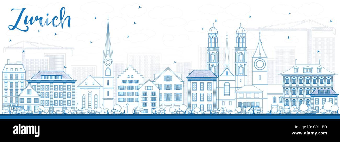 Outline Zurich Skyline with Blue Buildings. Vector Illustration. Business Travel and Tourism Concept - Stock Vector