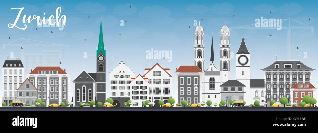 Zurich Skyline with Gray Buildings and Blue Sky. Vector Illustration. Business Travel and Tourism Concept with Zurich - Stock Vector