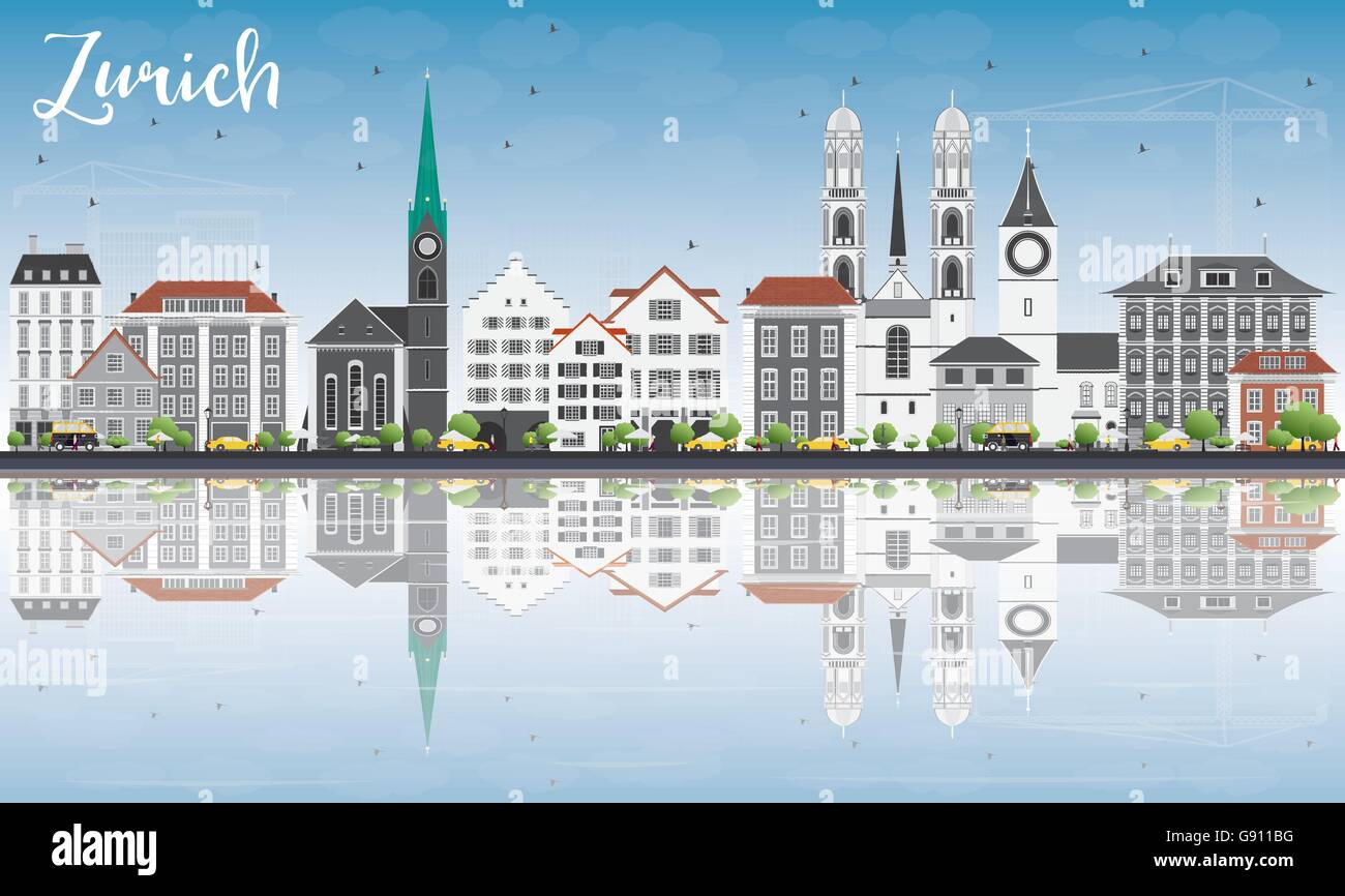 Zurich Skyline with Gray Buildings, Blue Sky and Reflections. Vector Illustration. Business Travel and Tourism Concept - Stock Vector