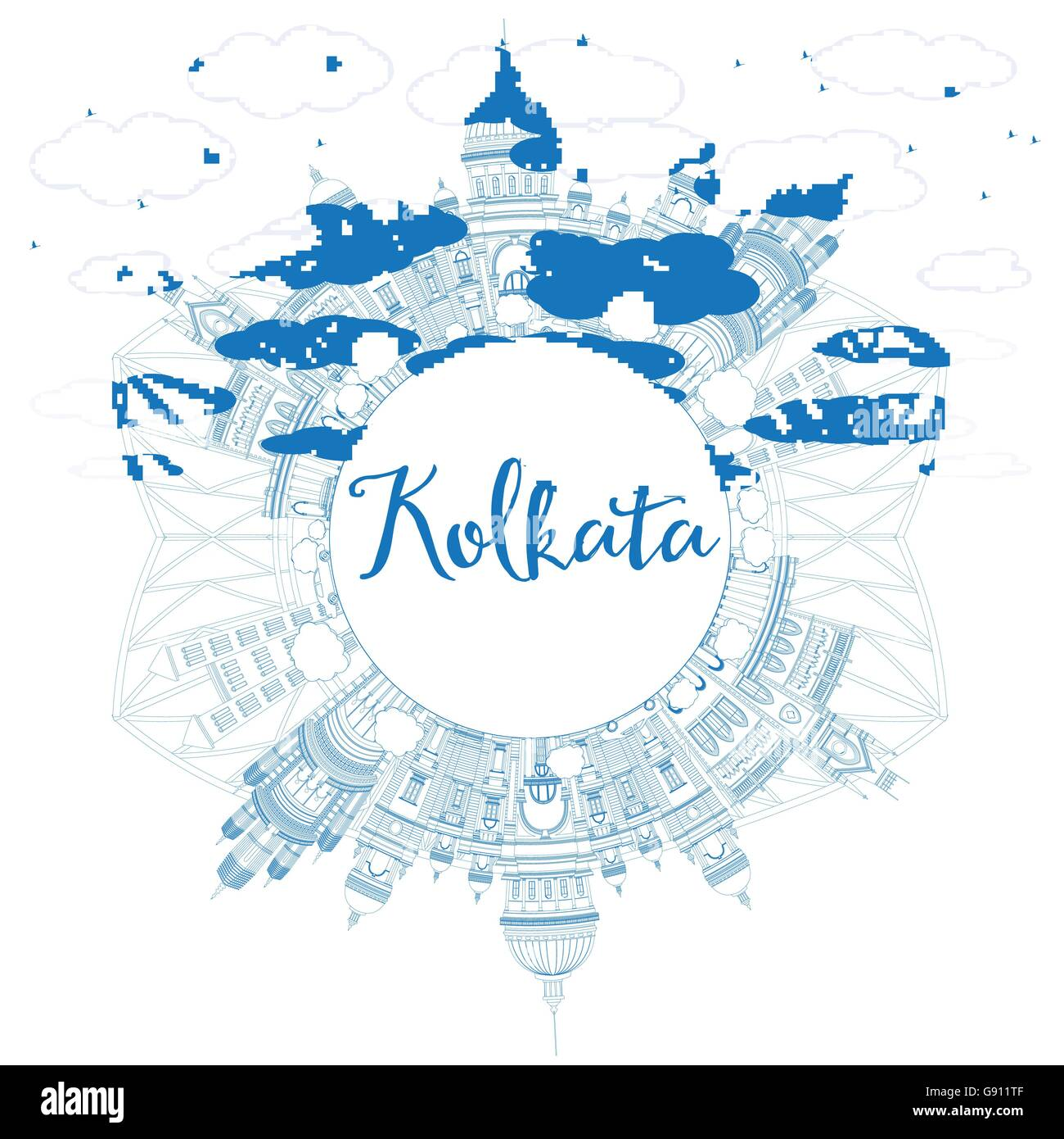Outline Kolkata Skyline with Blue Landmarks and Copy Space. Vector Illustration. Business Travel and Tourism Concept - Stock Vector