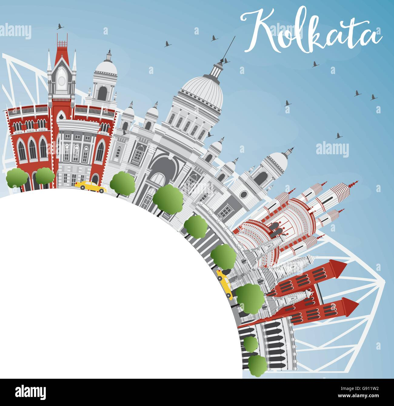 Kolkata Skyline with Gray Landmarks and Copy Space. Vector Illustration. Business Travel and Tourism Concept - Stock Vector