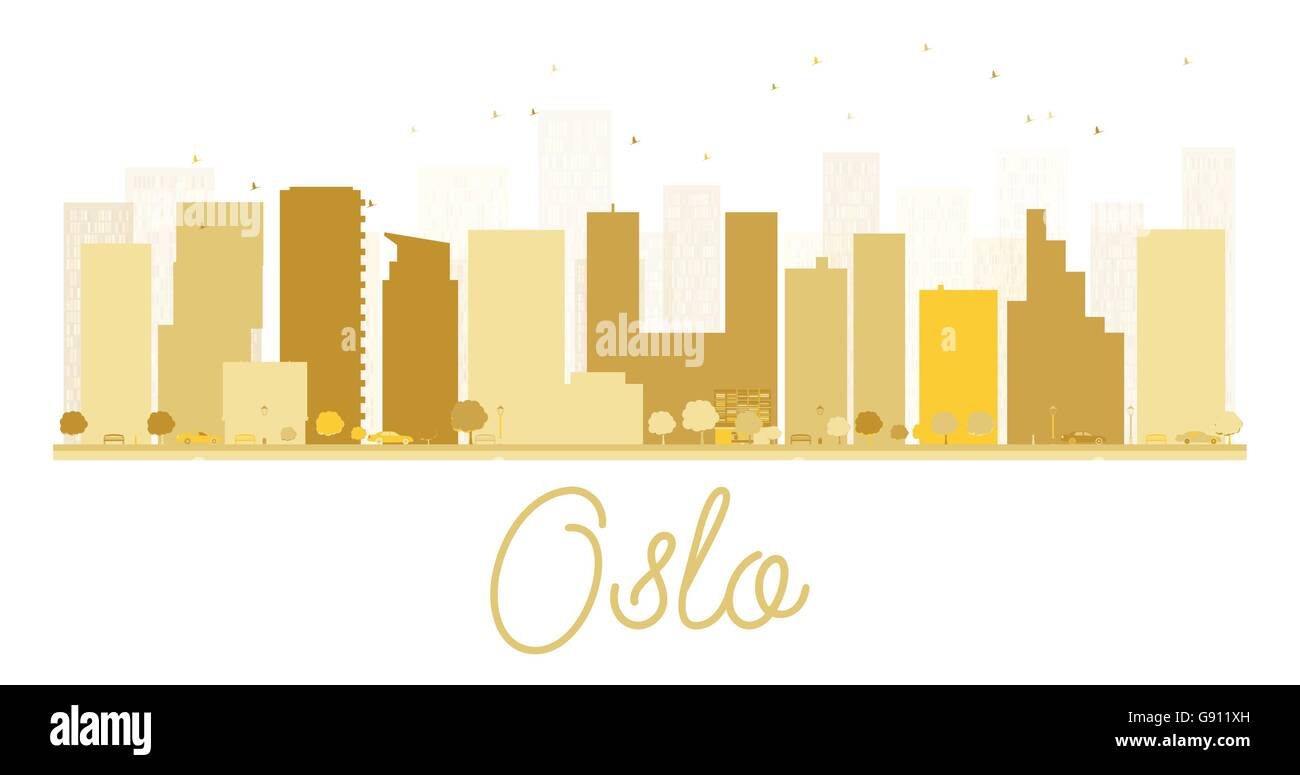 Oslo City skyline golden silhouette. Vector illustration. Simple flat concept for tourism presentation, banner, - Stock Vector
