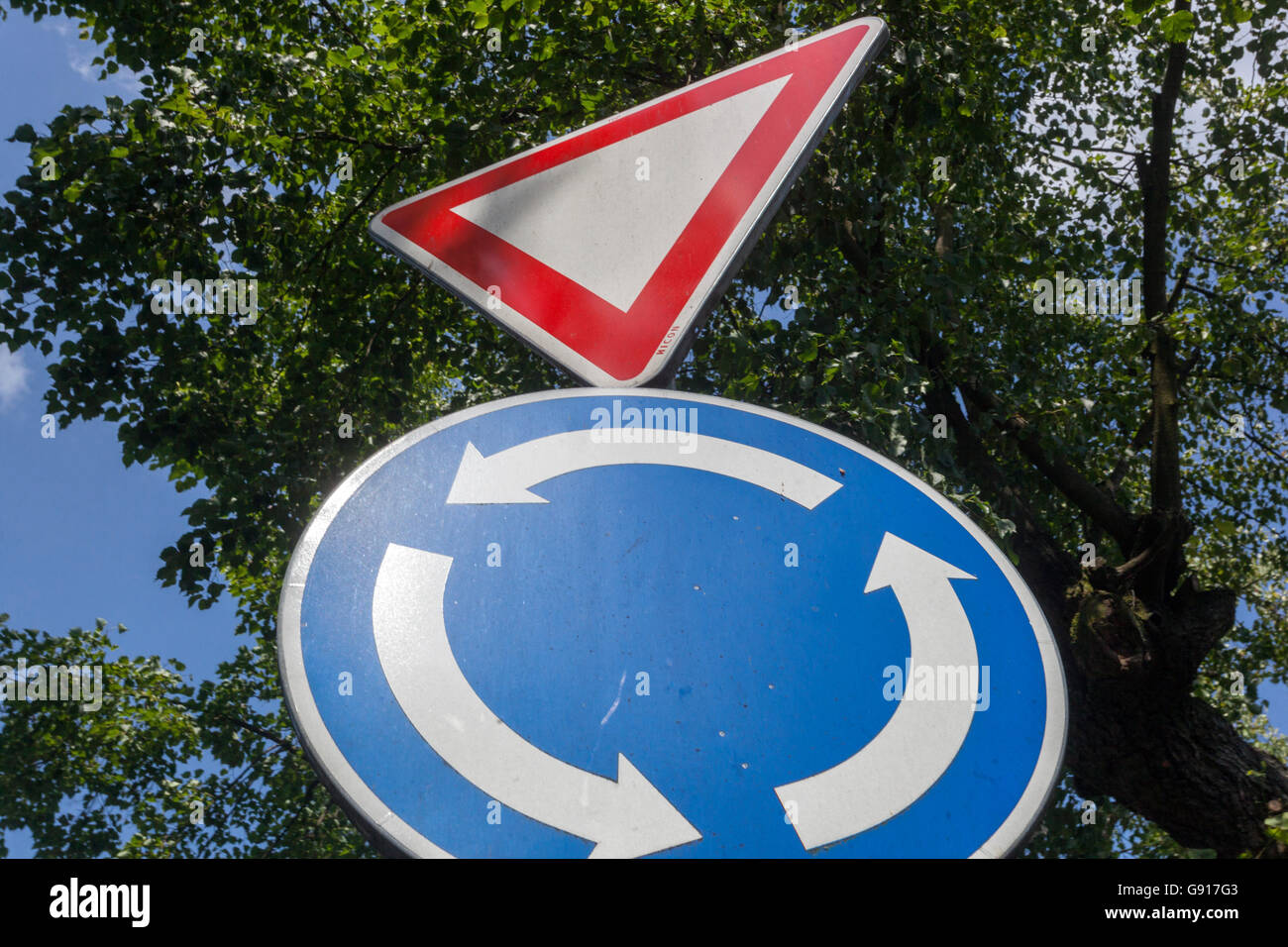 Traffic signs, roundabout - Stock Image