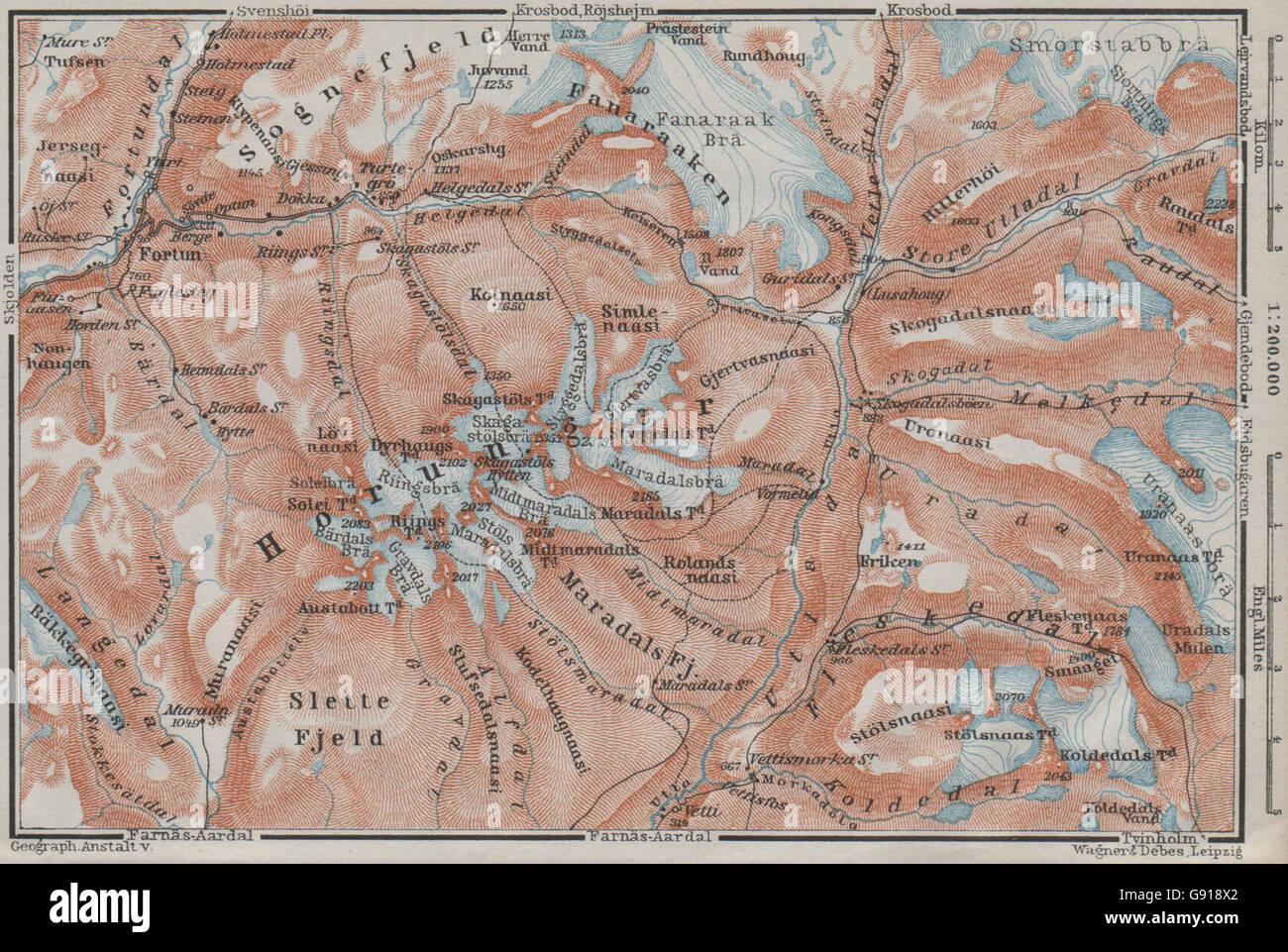 HURRUNGANE MOUNTAINS Norway 1899 Hurrungene Hurrungadn Horungane Topo-map