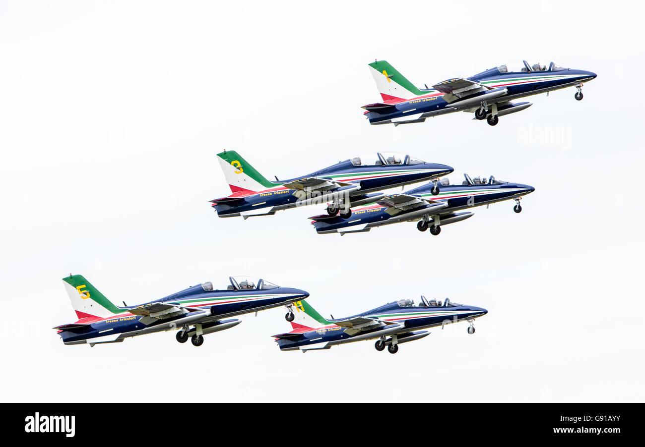 LEEUWARDEN, THE NETHERLANDS-JUNE 11, 2016: Italian aerobatic team Frecce Tricolori (Tricolor arrows) performs a - Stock Image