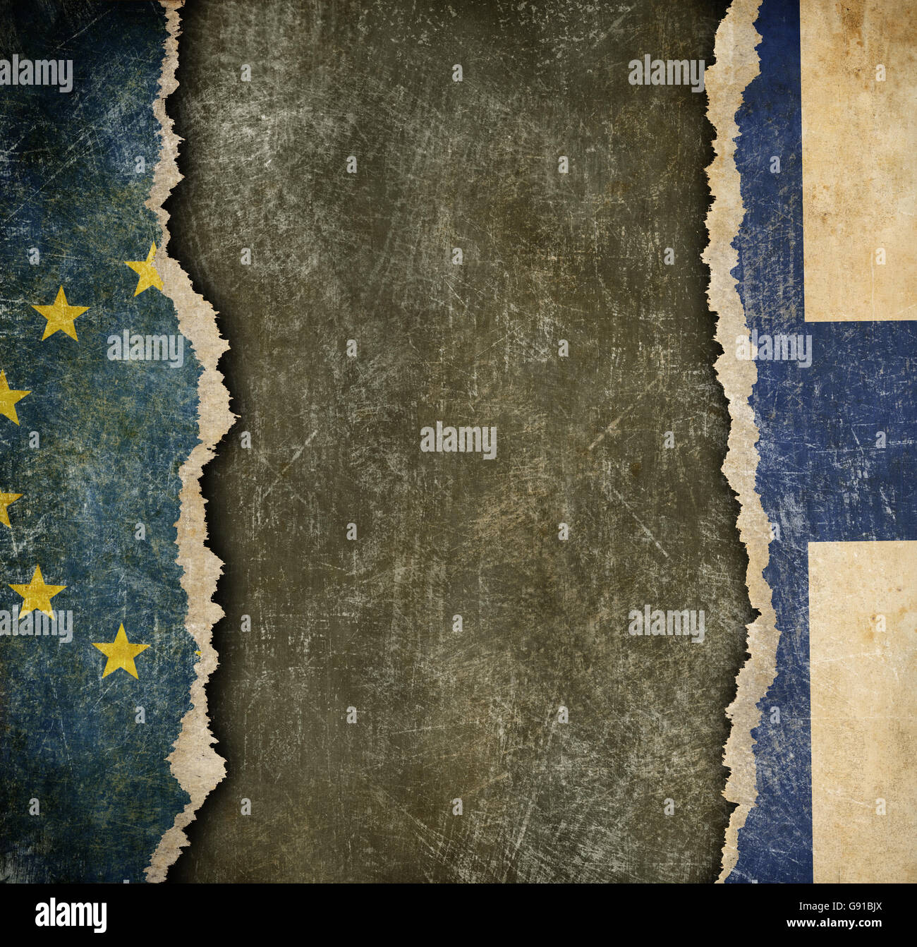 Finland withdrawal from European union fixit concept - Stock Image