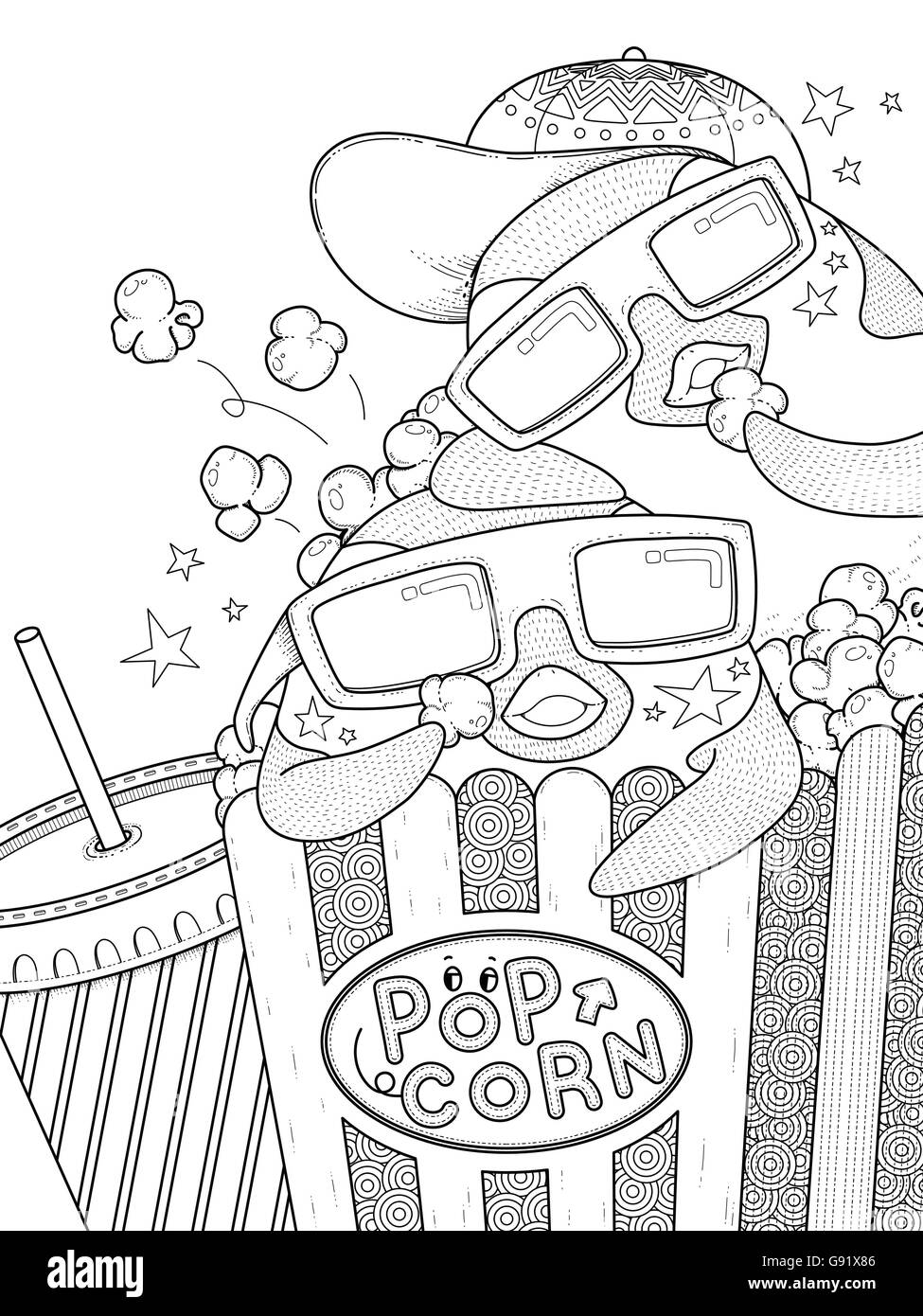 adult coloring page - funny penguin eating popcorn in the cinema ...