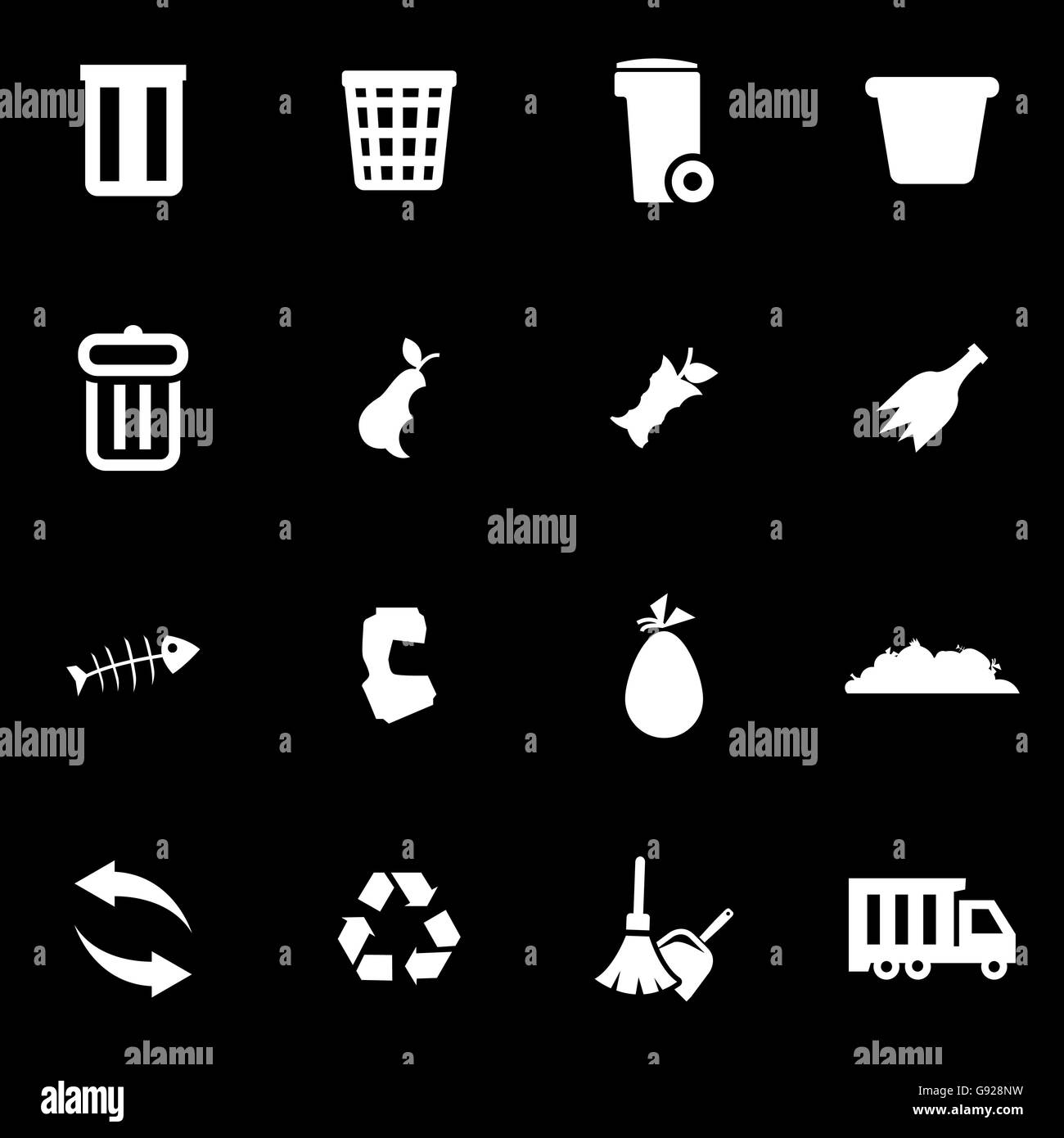 Vector white garbage icon set - Stock Vector