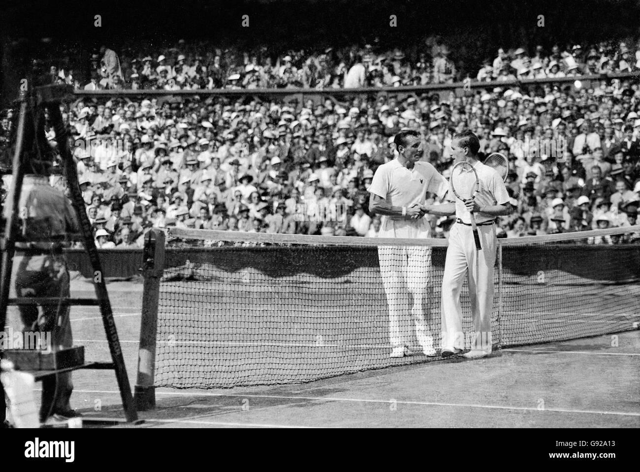 Tennis - Wimbledon Championships - Men's Singles - Final - Fred Perry v Gottfried Von Cramm - Stock Image